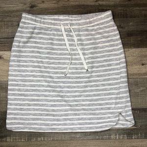DAKINI   Gray + White Striped Mini Skirt Soft Med